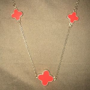 Jewelry - Clover necklace, in gold & red costume jewelry